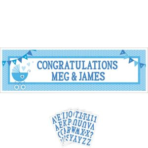 Giant Blue Stroller Baby Shower Personalized Banner Kit