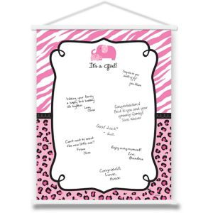 Pink Safari Baby Shower Sign-In Sheet
