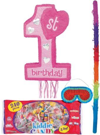 Pull String Pink 1st Birthday Pinata Kit