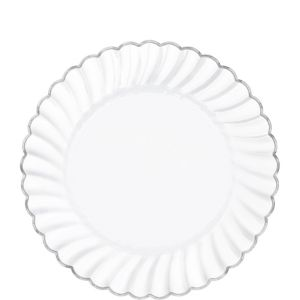 White Silver-Trimmed Premium Plastic Scalloped Lunch Plates 20ct