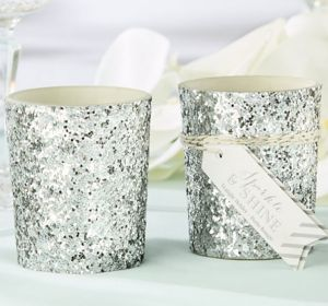 Silver Glitter Tealight Candle Holders