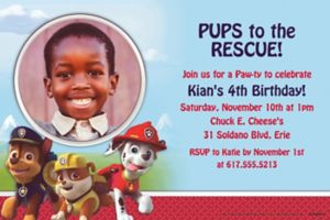 Custom Paw Patrol Photo Invitations