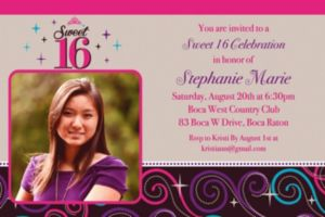 Custom Sweet 16 Celebration Photo Invitations