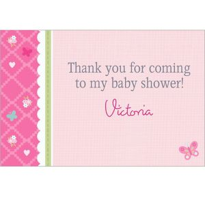 Custom Welcome Little One Girl Thank You Notes
