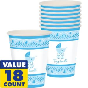 Blue Stroller Baby Shower Cups 18ct