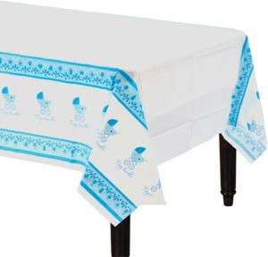 Blue Stroller Baby Shower Table Cover