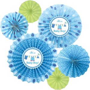 It's a Boy Baby Shower Paper Fan Decorations 6ct