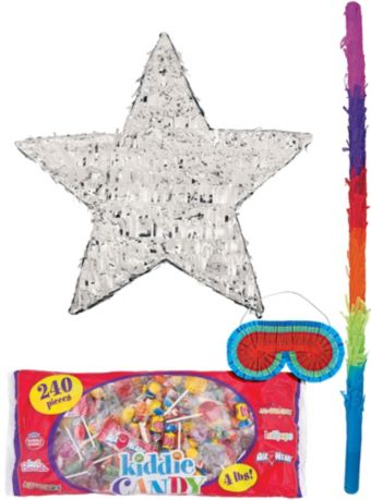Foil Silver Star Pinata Kit