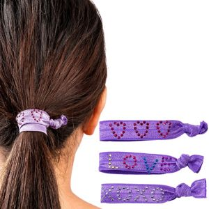 Sweet Heart Purple Ribbon Hair Ties 3ct