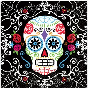 Sugar Skull Beverage Napkins 36ct - Day of the Dead