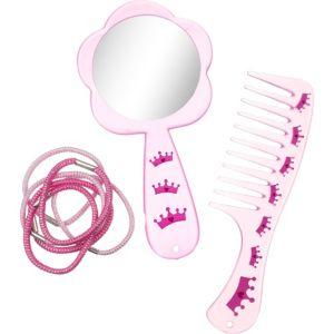 Pink Comb, Mirror & Hair Ties Set 8pc