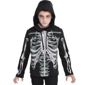 Child Skeleton Hoodie - Black & Bone