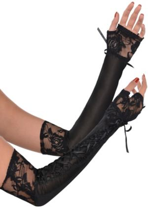 Black Lace-Up Long Gloves