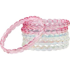 Child Pink & Clear Iridescent Bangle Bracelets 6ct