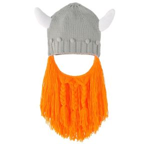 Viking Helmet Beanie with Beard