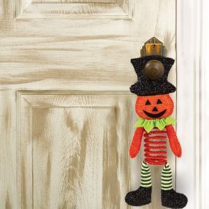Springy Plush Jack-o'-Lantern Door Hanger