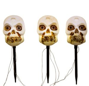 Light-Up Motion Sensor Skull Yard Stakes 3ct
