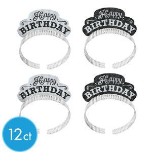 Glitter Black & White Happy Birthday Tiara Headbands 12ct