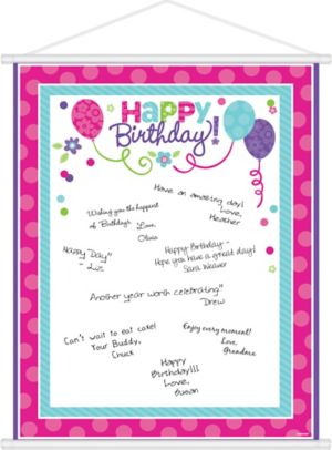 Purple & Teal Pastel Birthday Sign-In Sheet