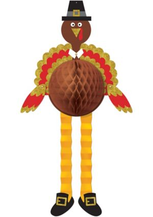Glitter Turkey Honeycomb Decoration