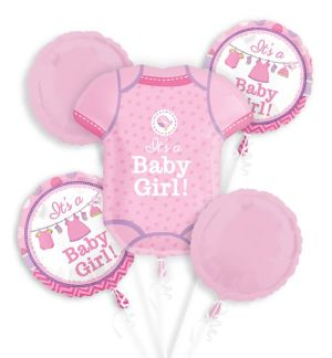 Girl Baby Shower Balloon Bouquet 5pc - Shower with Love