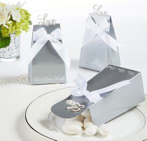 Love Silver Favor Boxes