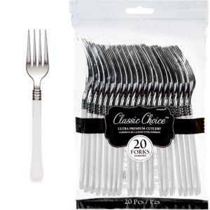 Classic Silver & White Premium Plastic Forks 20ct
