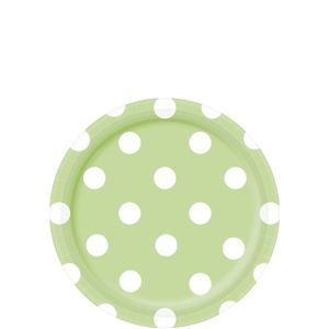 Leaf Green Polka Dot Dessert Plates 8ct