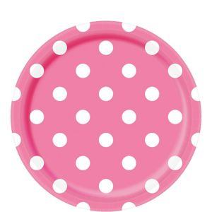 Bright Pink Polka Dot Lunch Plates 8ct