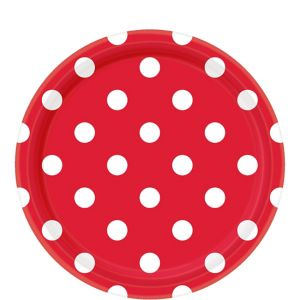 Red Polka Dot Lunch Plates 8ct