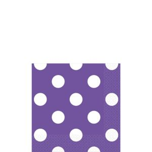 Purple Polka Dot Beverage Napkins 16ct