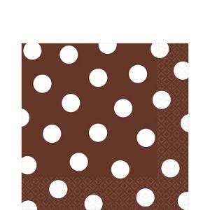 Chocolate Brown Polka Dot Lunch Napkins 16ct