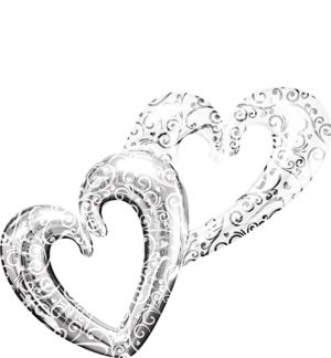 Silver Swirl Double Heart Balloon - Giant