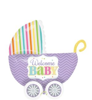 Pastel Rainbow Chevron Welcome Baby Carriage Balloon - 3D