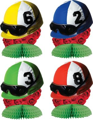 Jockey Helmet Honeycomb Centerpieces 4ct - Horse Racing
