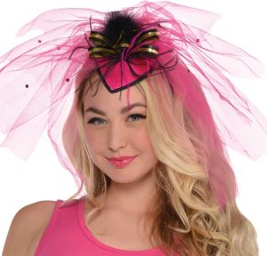 Hot Pink Veil Fascinator Headband - Sassy Bride