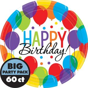 Rainbow Balloon Bash Birthday Lunch Plates 60ct