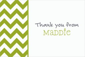Custom Kiwi Chevron Thank You Notes