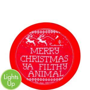 Light-Up Merry Christmas Ya Filthy Animal Sticker Badge
