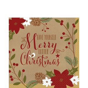 Merry Little Christmas Kraft Lunch Napkins 36ct
