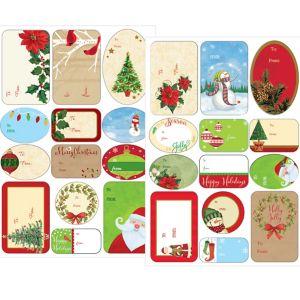 Traditional Christmas Adhesive Gift Tags 156ct