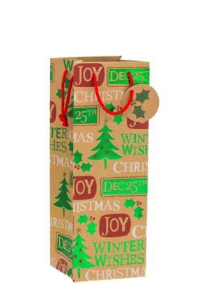 Metallic Christmas Messages Kraft Bottle Bag