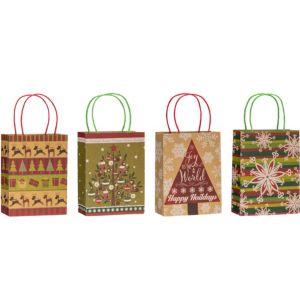 Kraft Christmas Gift Bags 4ct