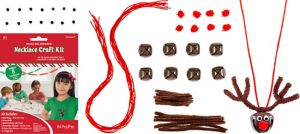 Jingle Bell Reindeer Necklace Craft Kit for 8