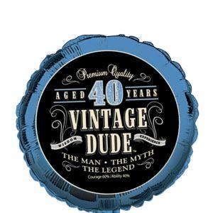 Vintage Dude 40th Birthday Balloon