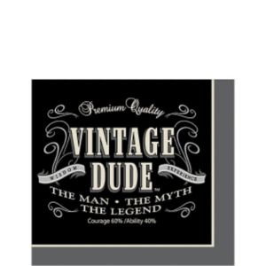 Vintage Dude Beverage Napkins 16ct Party City