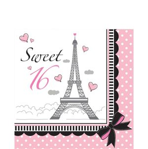 Pink Paris Sweet 16 Lunch Napkins 16ct