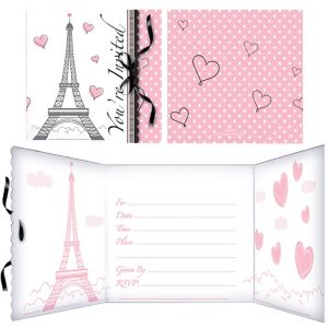 Pink Paris Invitations 8ct