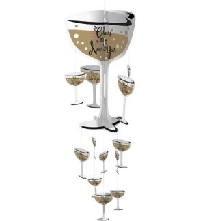 3D Champagne Glass New Year's String Decoration - Bubbly Celebration
