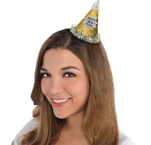 Glitter Gold Happy New Year Mini Party Hat